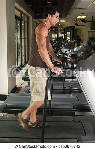 Man Exercising On Treadmill 3 - csp0670743