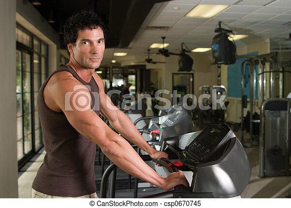 Man Exercising On Treadmill 4 - csp0670745