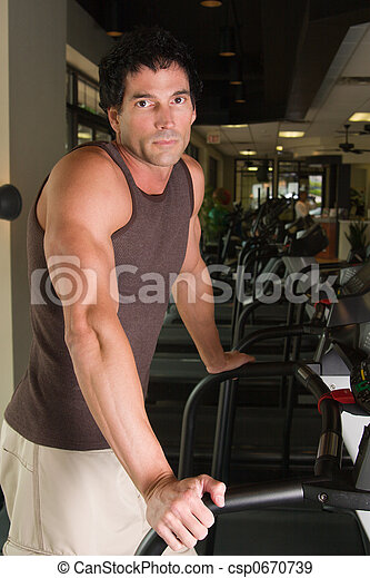 Man Exercising On Treadmill 5 - csp0670739