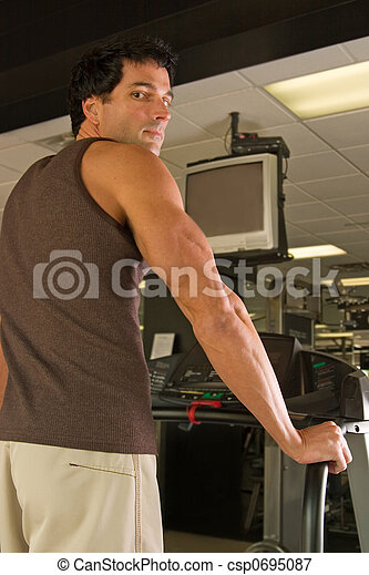 Man Exercising On Treadmill 6 - csp0695087