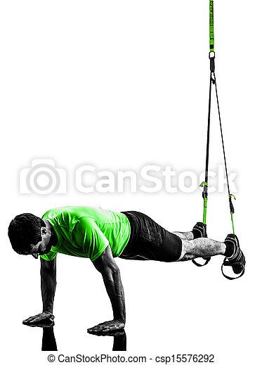 man exercising suspension training  trx silhouette - csp15576292