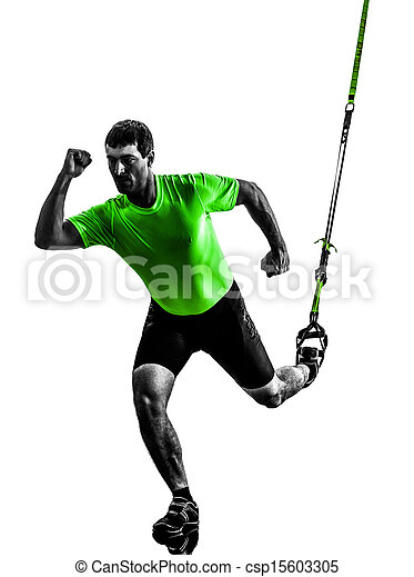 man exercising suspension training  trx silhouette - csp15603305