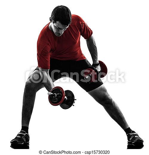 man exercising weight training silhouette - csp15730320