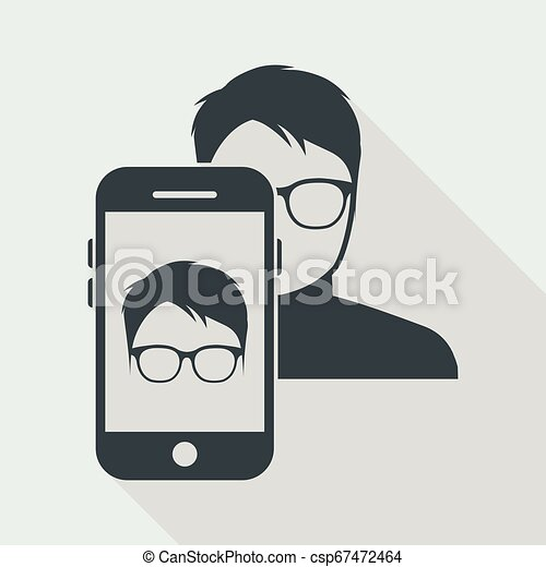 Man face with glasses on smartphone - csp67472464