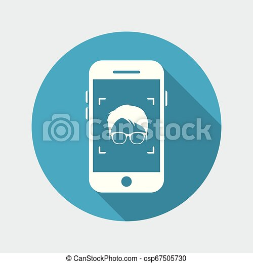 Man face with glasses on smartphone - csp67505730