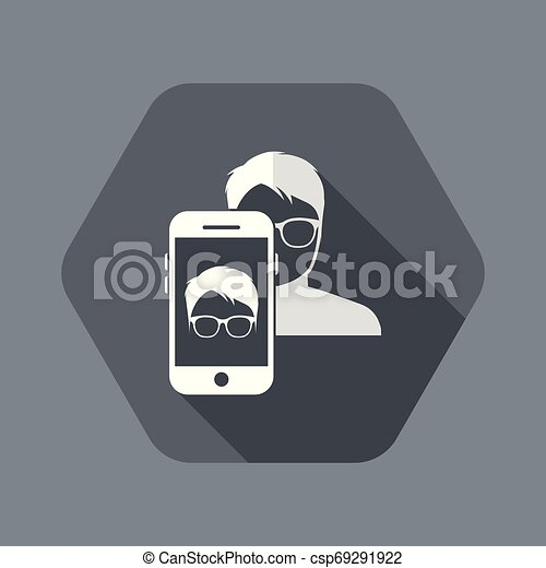 Man face with glasses on smartphone - csp69291922