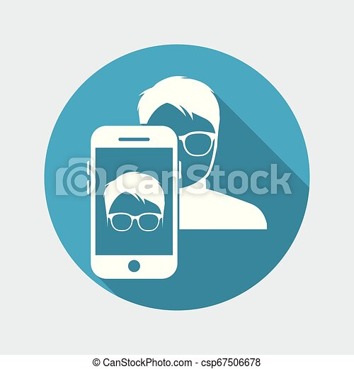Man face with glasses on smartphone - csp67506678