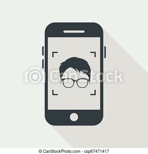 Man face with glasses on smartphone - csp67471417