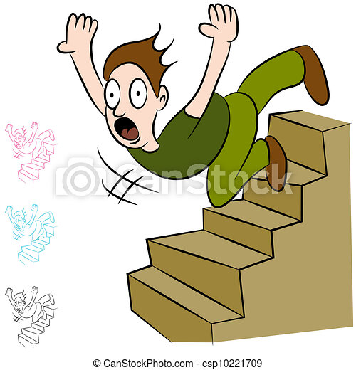 Man Falling Down Flight of Stairs - csp10221709