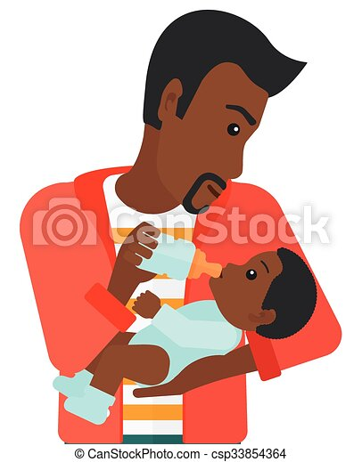 man feeding baby an african american man feeding a little clip rh canstockphoto com african american baby clipart images african american baby clipart images