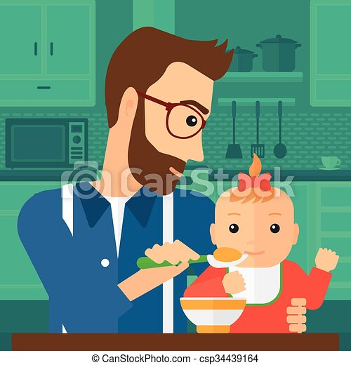 Man Feeding Baby A Young Dad Holding A Spoon And Feeding