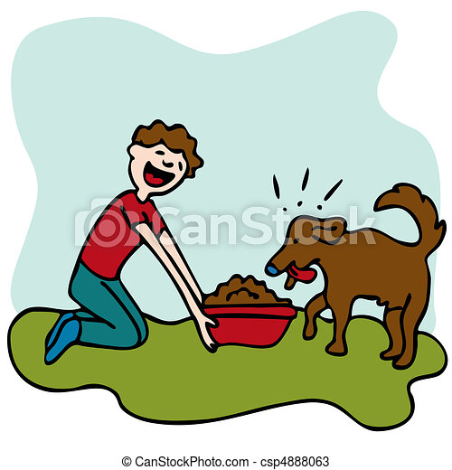 man feeding dog food an image of a man feeding his dog some food rh canstockphoto com  pet food clipart