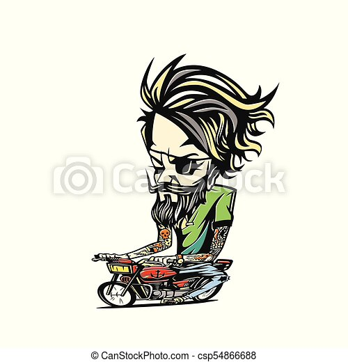 man, fiets, vector, illustratie, design. - csp54866688