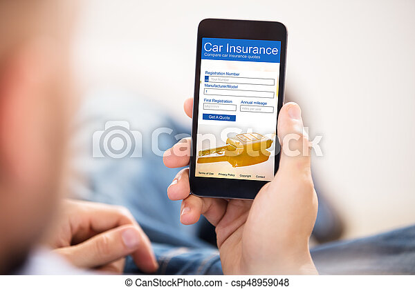smartphone insurance contract template  Close-up of a man filling car insurance form on mobile phone.