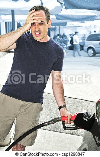Man filling up a car - csp1290847