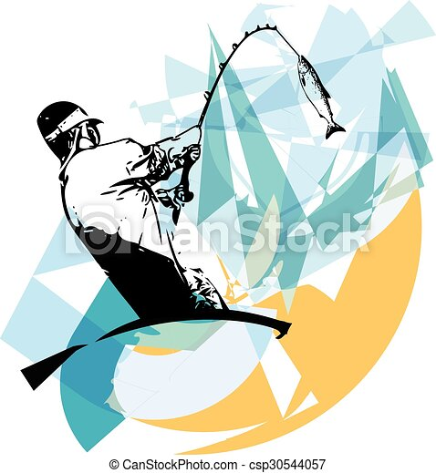 illustration of man fishing from the boat clipart vector search rh canstockphoto com man fishing clipart black and white man fishing boat clipart