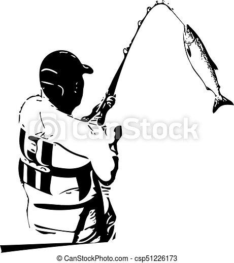 illustration of man fishing from the boat vectors illustration rh canstockphoto co uk man fishing clip art free free man fishing clipart