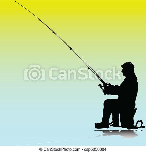 man fishing illustration - csp5050884
