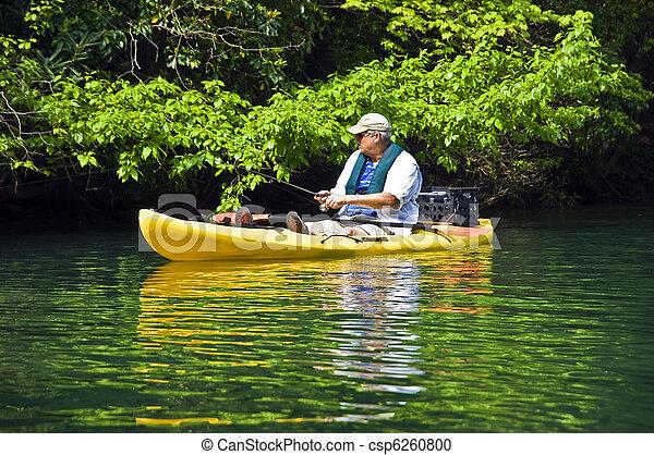 Man Fishing in Kayak - csp6260800