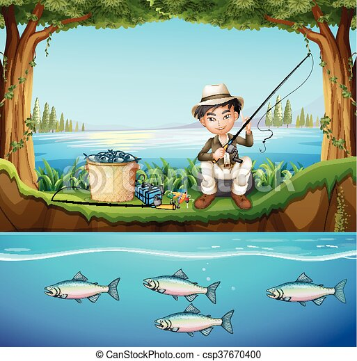 Man Fishing In The River Illustration