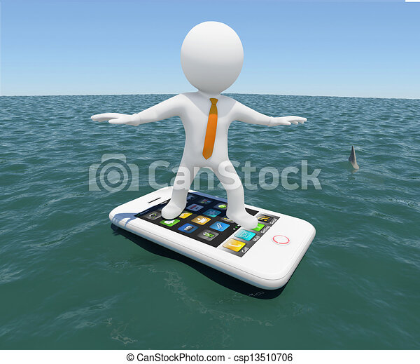 man floating on a smartphone - csp13510706
