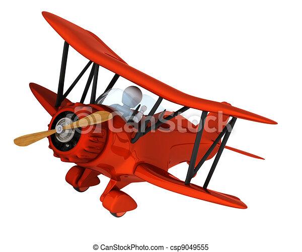 3d render of a man flying a vintage biplane.