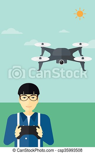 Man Flying Drone Vector