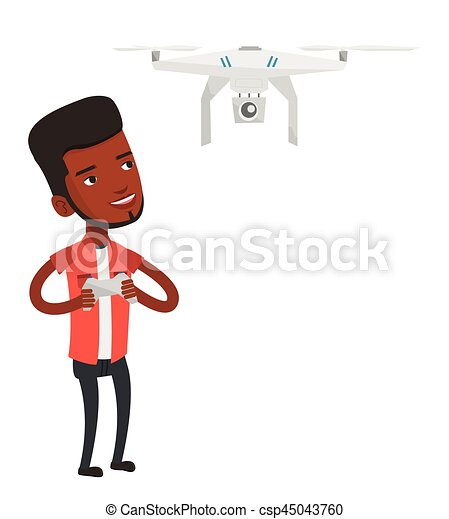 Man Flying Drone Vector Illustration