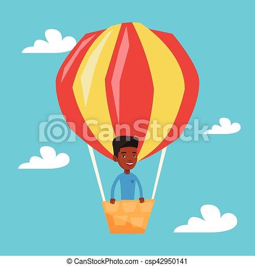 Man flying in hot air balloon vector illustration