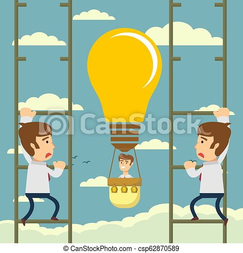 Man flying on idea balloon. Business boost concept, startup. - csp62870589