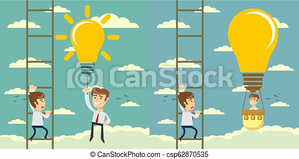 Man flying on idea balloons. Business boost concept, startup. - csp62870535