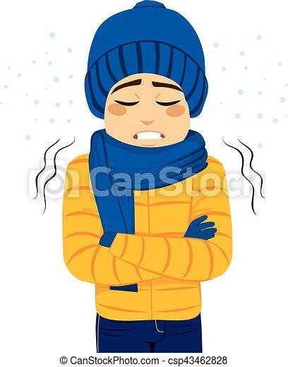 man freezing shivering young man freezing wearing winter clothes