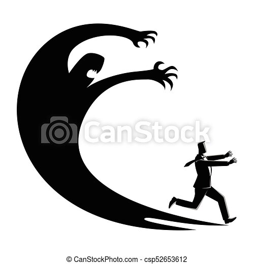 business concept illustration of a businessman frightened vector rh canstockphoto com shadow clipart png clipart shadow puppets