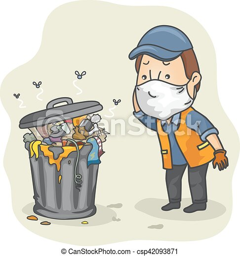Man Garbage Collector Can