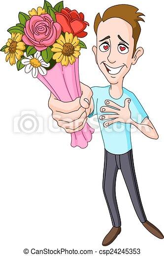 Man Giving Flower Bouquet