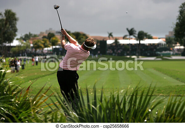 Man golf swing on a golf course - csp25658666