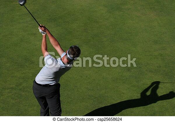Man golf swing on a golf course - csp25658624