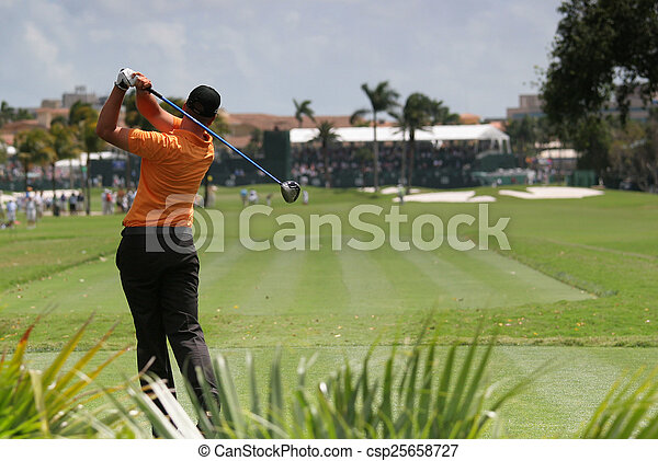 Man golf swing on a golf course - csp25658727