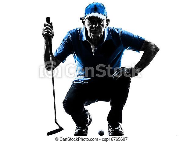 man golfer golfing crouching silhouette - csp16765607