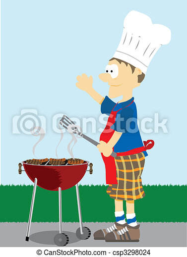 Man grills food outside. - csp3298024