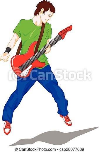 man guitar player - csp28077689
