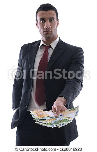 man, hållande pengar, affär - csp8616920