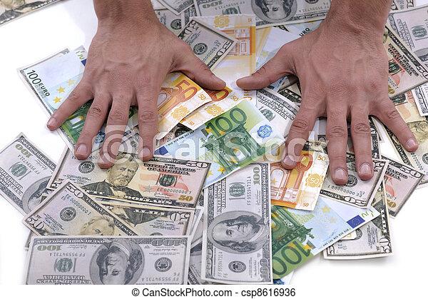 man, hållande pengar, affär - csp8616936