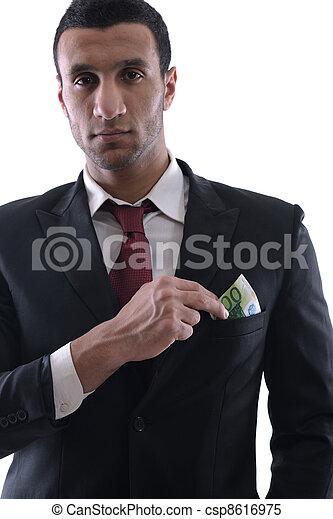 man, hållande pengar, affär - csp8616975