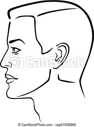 Man hairstyle head - csp51936865