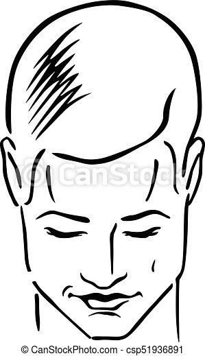Man hairstyle head - csp51936891