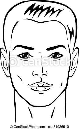 Man hairstyle head - csp51936910