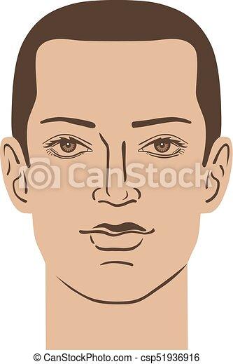 Man hairstyle head - csp51936916