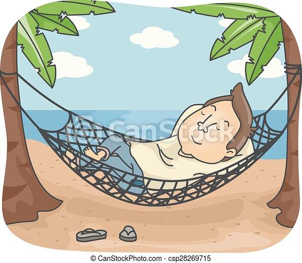Man hammock beach nap. Illustration of a man sleeping on a ...