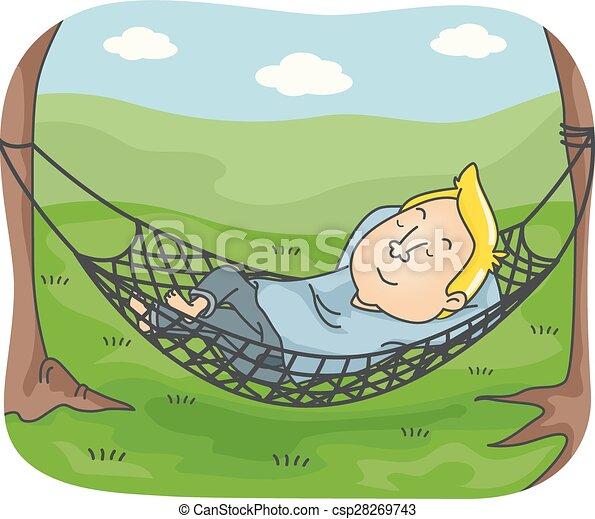 Illustration Of A Man Sleeping On An Outdoor Hammock